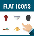 flat icon garment set of beach sandal banyan vector image vector image