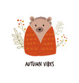 funny hedgehog in a blanket cute forest animal vector image vector image