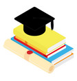 graduation black hat on book stack and vector image
