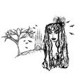 Halloween witch - doodle grunge portrait vector image vector image