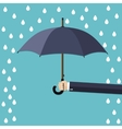 Hand of man holding umbrella under rain vector image vector image