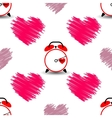 Heart and watch the time of love Seamless pattern vector image vector image