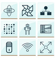 machine icons set with processor computer cooler vector image