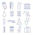 medical healthcare equipment thin line icon set vector image vector image
