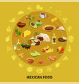 mexican food round composition vector image vector image