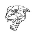 panther angry head mosaic black and white vector image vector image
