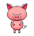 pixel cute pig detailed isolated vector image