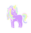 purple unicorn with yellow horn icon vector image vector image