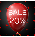 Red Baloon with 20 percent Discounts over black vector image