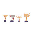 set golden and silver cups with gold medals vector image