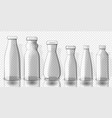 set of empty juice bottles mockup on transparent vector image vector image