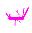 silhouette of multifunctional knife in pink design vector image