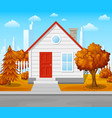 suburban house with autumn tree city background vector image vector image