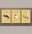 sweet collection cheese cakes and apple pie vector image vector image