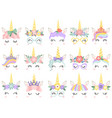 unicorn face beautiful pony unicorns faces magic vector image vector image