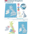 United Kingdom maps with markers vector image