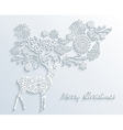 White Merry Christmas reindeer with winter floral vector image vector image
