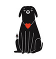 with dog and man silhouette two little red hearts vector image