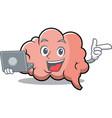 with laptop brain character cartoon mascot vector image vector image