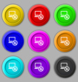 bug find icon sign symbol on nine round colourful vector image