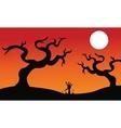 Halloween dry tree silhouette vector image