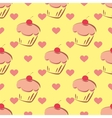 Tile pattern with cupcake and hearts on yellow vector image
