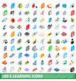100 e-learning icons set isometric 3d style vector image
