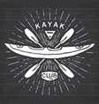 kayak club vintage label hand drawn sketch grunge vector image