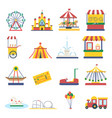 amusement park flat elements isolated background vector image