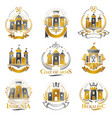 ancient citadels emblems set heraldic design vector image vector image