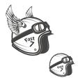 baker helmet with wings design element for logo