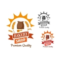 Bakery retro sign with flour and wheat vector image