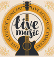 banner for live music with acoustic guitar vector image vector image