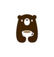 bear cub cup coffee tea drink logo icon vector image vector image
