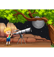 Boy looking through telescope at night vector image