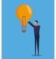 business man bulb idea solution design vector image