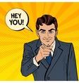 Businessman Pointing Finger at You Pop Art vector image