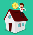 Businessman putting coin inside the house vector image vector image