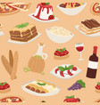 cartoon italy food cuisine traditional seamless vector image vector image
