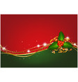 christmas background with christmas holly vector image