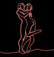 continuous line loving couple kissing neon concept vector image
