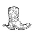 cowboy boot engraving vector image vector image