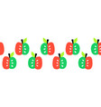 cute apples seamless border repeating vector image vector image
