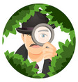 detective with mustaches hides in thick bushes vector image vector image