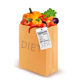 Diet paper bag with vegetables and a nutritional vector image