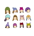 Different faces People in winter hats Hand vector image