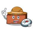 explorer brick mascot cartoon style vector image vector image