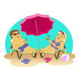 fat people on the beach vector image vector image