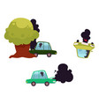 flat cartoon car accidend crash set vector image vector image