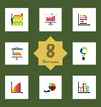 flat icon graph set of statistic pie bar diagram vector image